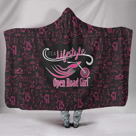 PINK/Black Open Road Girl Hooded Blanket, 2 Styles