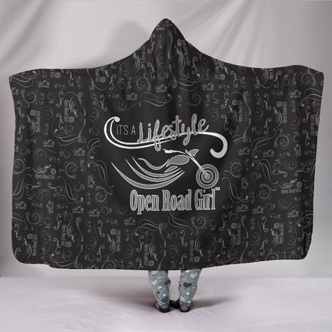 GREY/Black Open Road Girl Hooded Blanket, 2 Sizes