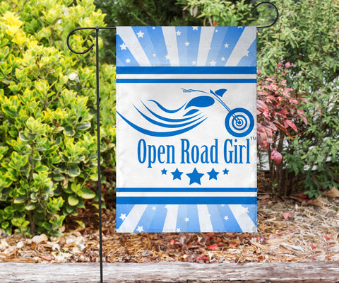 Open Road Girl with Stripes Garden or House FLAG ONLY, 7 COLORS
