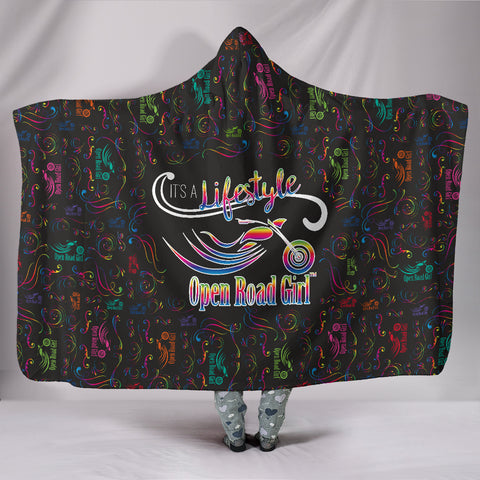 RAINBOW/BLACK Open Road Girl Hooded Blanket, 2 Styles
