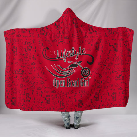 RED  Open Road Girl Hooded Blanket, 2 Sizes