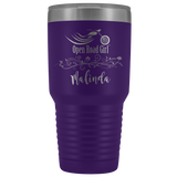 CUSTOM ENGRAVED OPEN ROAD GIRL (30 OUNCES) TRAVEL MUG, 12 COLORS