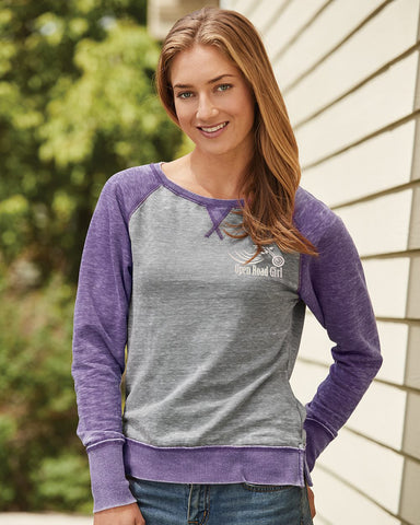 Open Road Girl Fleece Raglan Crewneck Sweatshirt, 2 COLORS