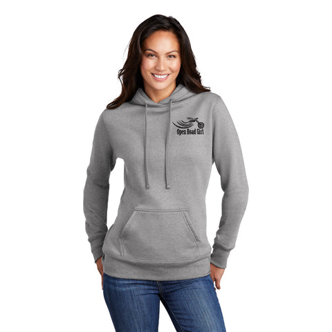 GREY Open Road Girl Full PULLOVER Hoodie - CHOOSE YOUR LOGO COLOR!