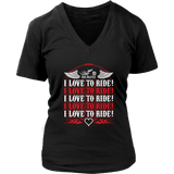RED I Love To Ride Women's V-Neck Tee