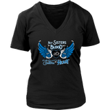 BLUE NOT SISTERS BY BLOOD...OPEN ROAD GIRL V-NECK SHIRT