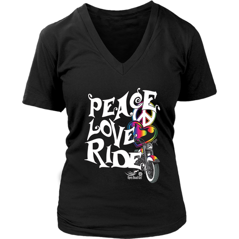 RAINBOW PEACE LOVE RIDE WOMEN'S V-NECK SHIRT