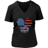 Patriotic Open Road Girl Women's Vneck Neck Tee, 3 COLORS
