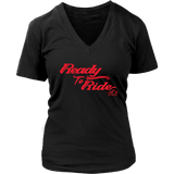 RED READY TO RIDE WOMEN'S VNECK TEE