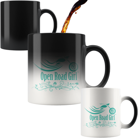 TEAL OPEN ROAD GIRL 11OZ MAGIC MUG, 2 STYLES