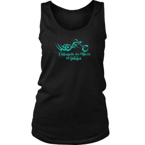 TEAL Unleash The Biker Within Full Back Women's Tank Top