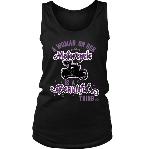 PURPLE A Woman on her Motorcycle is a Beautiful Thing Wide Back Tank Top
