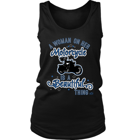 BLUE A Woman on her Motorcycle is a Beautiful Thing Full Back Tank Top