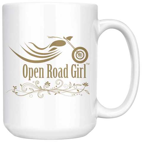 GOLD OPEN ROAD GIRL 15OZ MUG, 2 STYLES