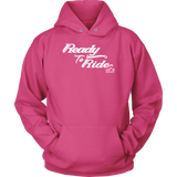 WHITE READY TO RIDE UNISEX PULLOVER HOODIE
