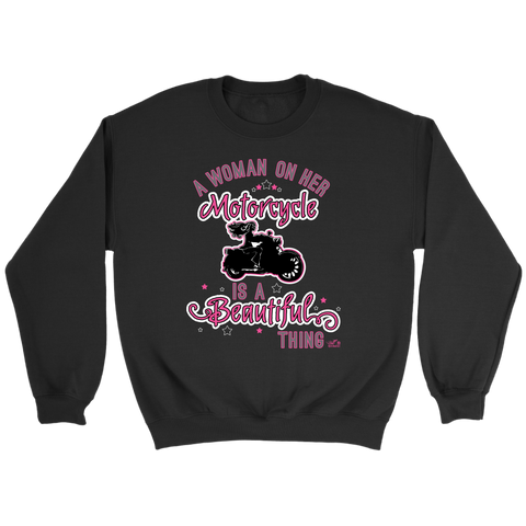 PINK A Woman on her Motorcycle is a Beautiful Thing UNISEX Crewneck Sweatshirt