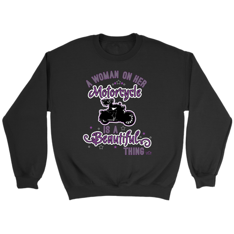 PURPLE A Woman on her Motorcycle is a Beautiful Thing UNISEX Crewneck Sweatshirt
