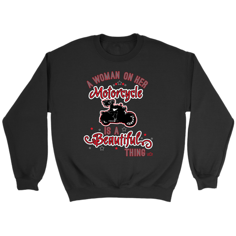 RED A Woman on her Motorcycle is a Beautiful Thing UNISEX Crewneck Sweatshirt