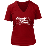 WHITE READY TO RIDE WITH SWIRLS WOMEN'S VNECK TEE