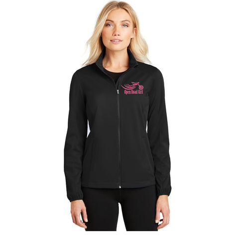 BLACK Open Road Girl Soft Shell Jacket - PICK YOUR LOGO COLOR!!