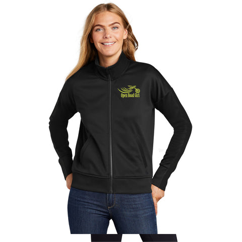 BLACK Open Road Girl Track Jacket CHOOSE YOUR LOGO COLOR