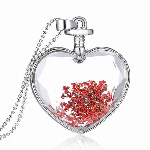 Women's Dry Flower Heart Glass Wishing Bottle Pendant