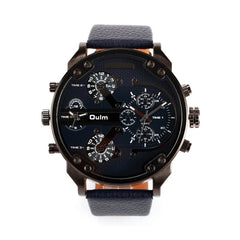 Men's Dual Time Display Quartz Watch with Cloth Band