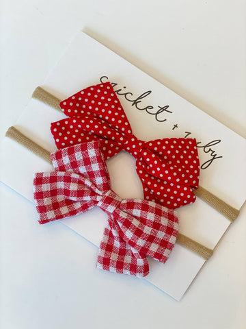Linen Bow Headband | Red Gingham & Dot (Copy)