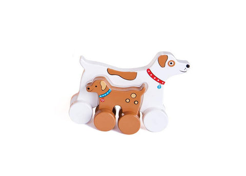 Dog Mommy and Baby Wooden Roller
