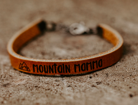 mountain mama leather bracelet