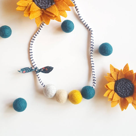 Everything Fall Necklace - Teal & Mustard