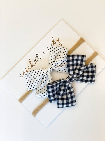 Linen Bow Headband | Black Gingham & Dot
