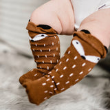 Brown Tiny Fox Socks - tinybirdstinybees