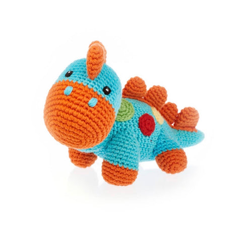 Turquoise and Orange Dino Rattle - tinybirdstinybees