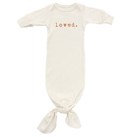 Loved Organic Infant gown & hat - Rust