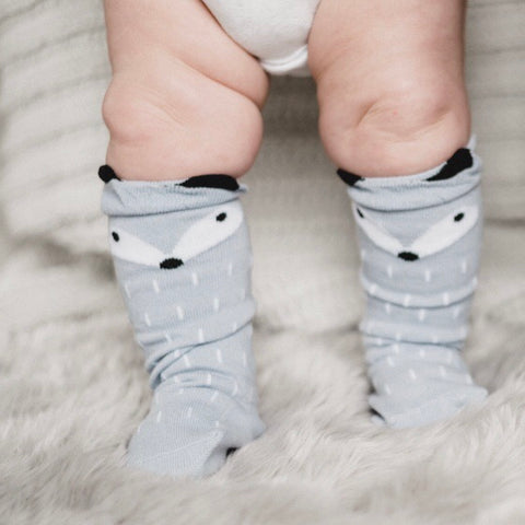Gray Tiny Fox Socks - tinybirdstinybees