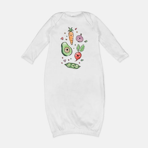 Homegrown Veggie Crew Newborn Gown