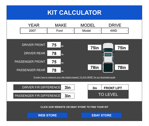 WULF SUSPENSIONS KIT CALCULATOR FORD DODGE RAM GMC CHEVY CHEVROLET JEEP TOYOTA NISSAN