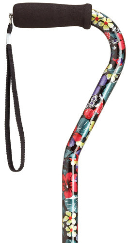 Night Flowers Print Offset Adjustable Walking Cane 30-39