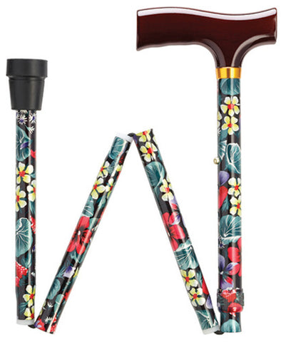 Night Flowers Travel Folding Adjustable Walking Cane 33-37