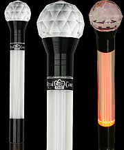 Crystal Ball Handle Walking Stick with Light Up Lucite on Wenge