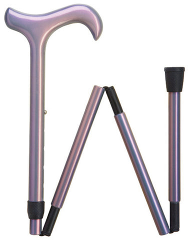 CARBON FIBER LUMINESCENT LAVENDER Ladies DERBY FOLDING ADJUSTABLE CANE 33-37