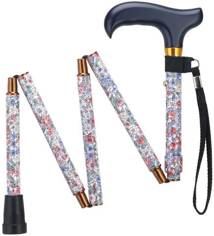 Wildflowers Mini Folding Cane with Travel Pouch, 33-36