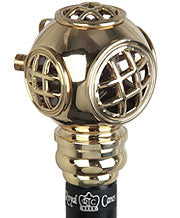 Brass Navy Diver's Helmet Walking Stick, 37-38.5