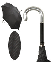 Umbrella Cane - Sterling Silver Tourist Crook Handle with Black Pinstripe