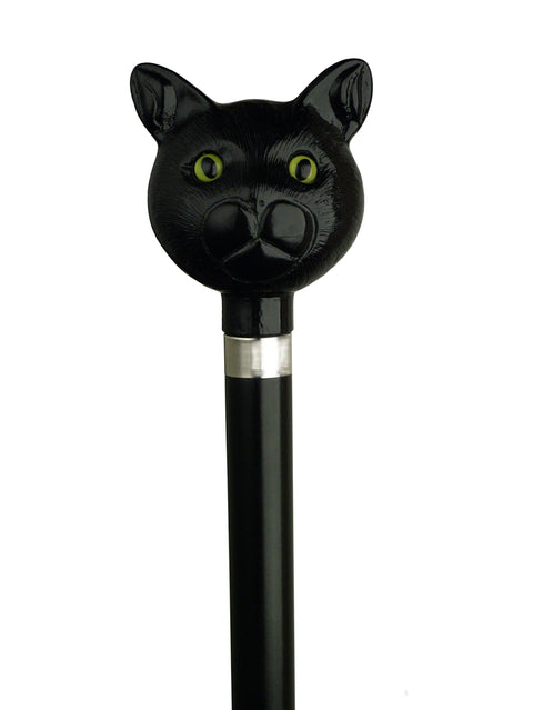 Black Cat Walking Cane on Black Hardwood shaft w/silver collar, 36