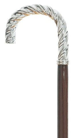 Twizzler - Twisted Silver Crook Handle Walking Cane