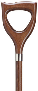 HAND CARVED WOOD SHOVEL SHAPED HANDLE WALKING CANE, 36