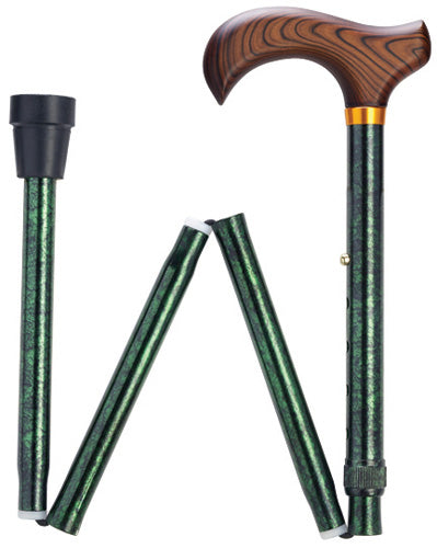 Green Granite Travel Folding Adj Cane 33-37