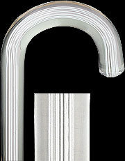 White Stripes Clear Lucite Crook Walking Cane 36.5